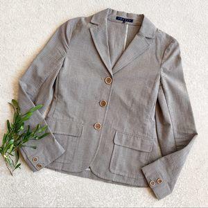 Theory Taupe Plaid Carissa Blazer Jacket